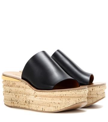 Fendi Leather And Cork Wedges