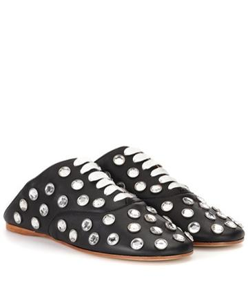 Kenzo Mika Stone Leather Lace-up Slippers