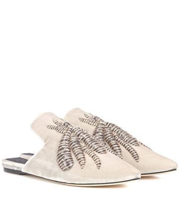 Miu Miu Ragno Embroidered Velvet Slippers