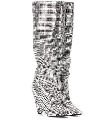 Saint Laurent Niki 105 Crystal-embellished Boots