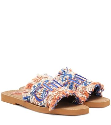 Chlo Embroidered Tweed Sandals
