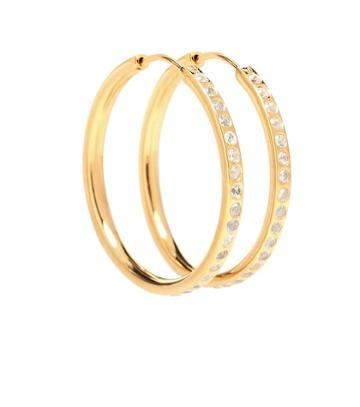 Theodora Warre White Sapphire Pave Hoop Earrings