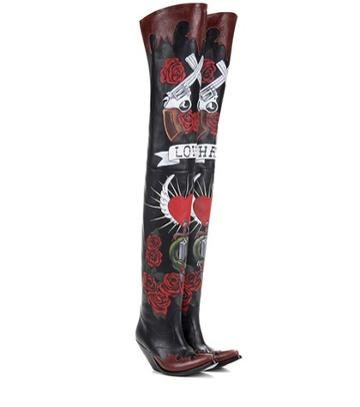 Velvet Painted Leather Over-the-knee Boots
