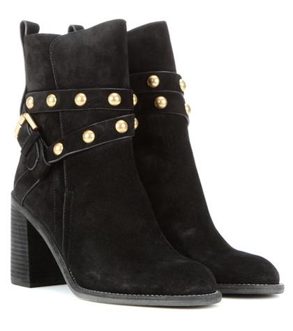See By Chlo Embellished Suede Ankle Boots