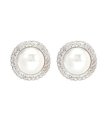 Alessandra Rich Faux Pearl Clip-on Earrings