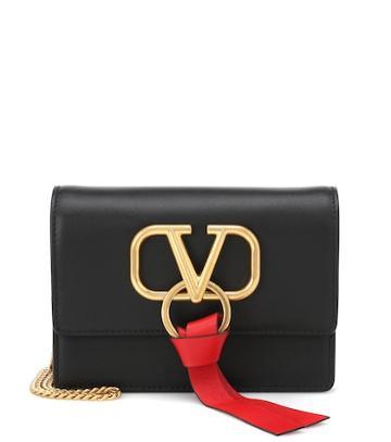Gianvito Rossi Valentino Garavani Vring Leather Shoulder Bag