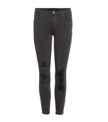 Gianvito Rossi Cropped Low Rise Distressed Skinny Jeans