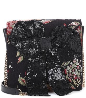 Rochas Leather-trimmed Shoulder Bag