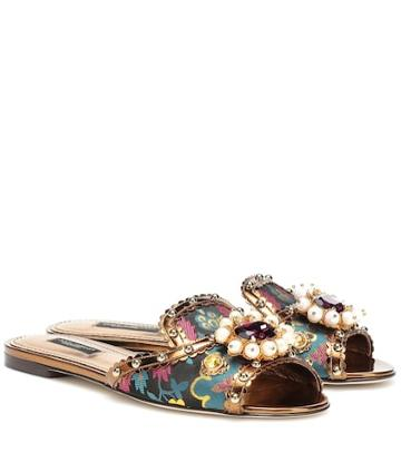 Dolce & Gabbana Embellished Brocade Slippers