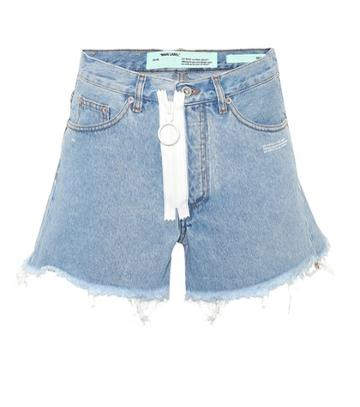Off-white Zip Denim Cut-off Shorts