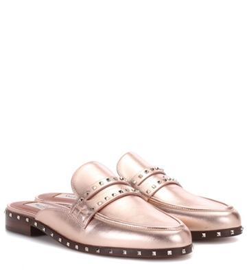 Valentino Valentino Garavani Metallic Leather Slippers