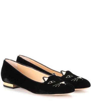 Fendi Kitty Flat Velvet Slippers