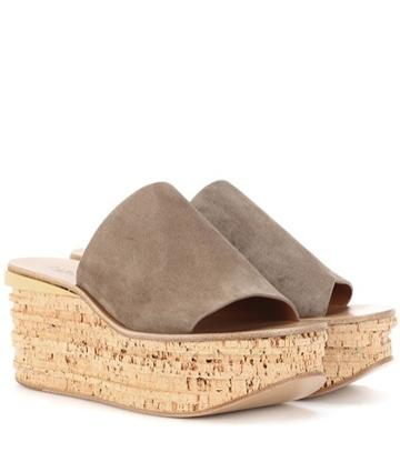 Chlo Camille Suede Wedge Mules