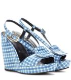 Dolce & Gabbana Chips Printed Embossed Leather Wedge Sandals