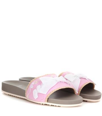 Fendi Ode Embellished Slip-on Sandals
