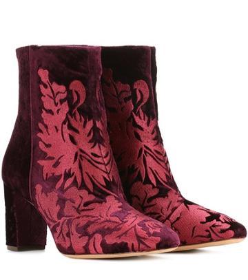 Alexandre Birman Regina Embroidered Velvet Ankle Boots