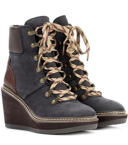 See By Chlo Suede Wedge Ankle Boots