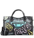Roger Vivier Classic City Graffiti Leather Tote