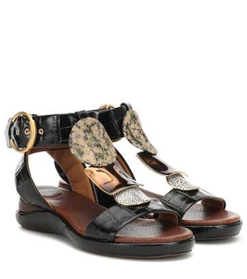 Chlo Wanda Embossed Leather Sandals