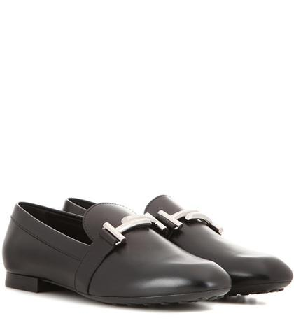 Tod's Double T Leather Slippers