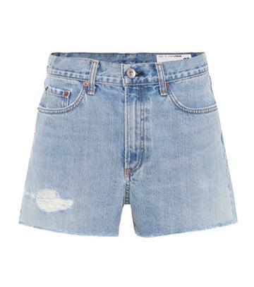 Gianvito Rossi Justine Denim Cut-off Shorts