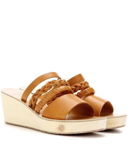Ancient Greek Sandals Helene Leather Wedge Sandals