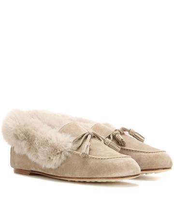 Saint Laurent Chalet Fur-trimmed Suede Slippers