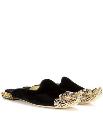 Tory Burch Embellished Velvet Slippers