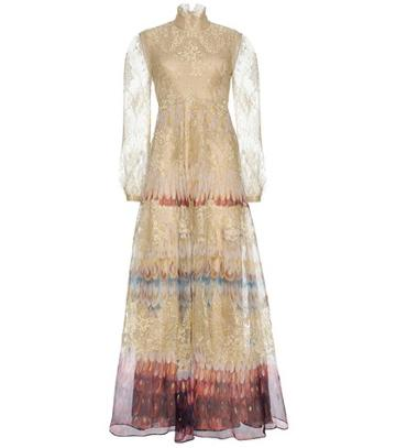 Tom Ford Printed Silk And Lace Gown