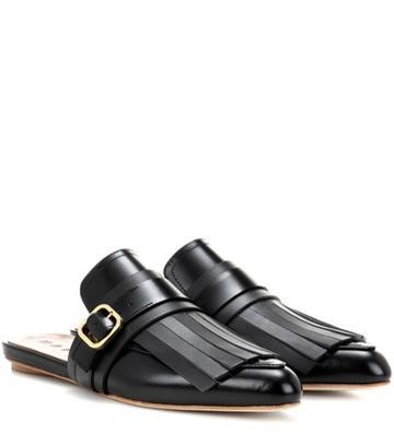 Marni Fringed Leather Slippers