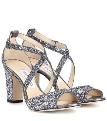 Jimmy Choo Carrie 85 Glitter Sandals