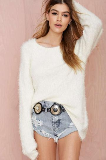 For Love & Lemons Knitz By For Love And Lemons Spring Fling Fuzzy Sweater