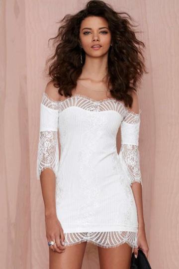 For Love & Lemons For Love And Lemons Belle Lace Mini Dress - White