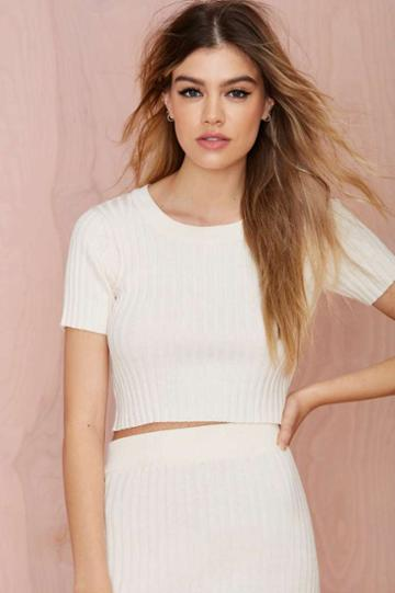 For Love & Lemons Knitz By For Love And Lemons Back To Basics Crop Top