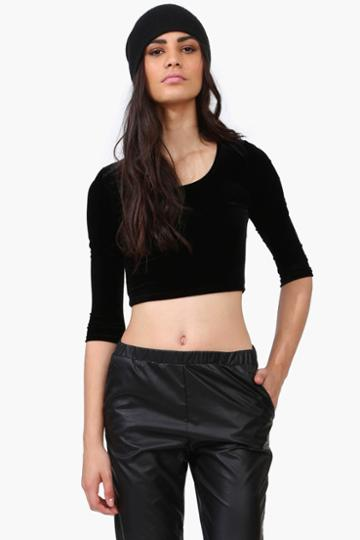 Necessary Clothing - Velvet Crop Top - Black