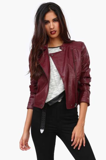 Necessary Clothing - Rebellion Leather Jacket - Burgundy