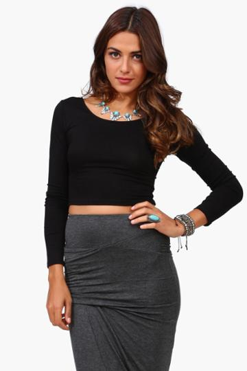 Necessary Clothing - Long Sleeve Crop Top - Black
