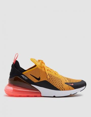 Nike Air Max 270 Sneaker In Black/university Gold-hot Punch