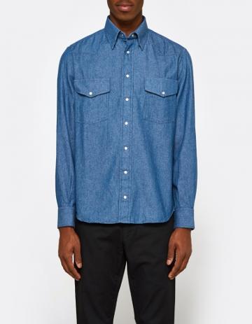 Gitman Brothers Vintage 6.5oz Japanese Denim Shirt In Indigo