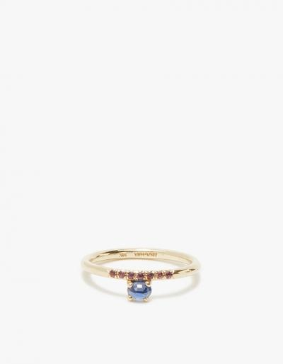 Mociun Sapphire With Garnets Ring