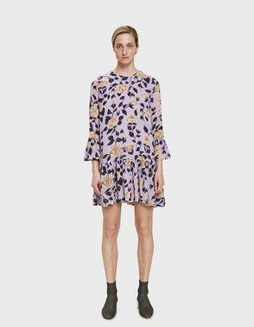 Ganni Carlton Ruffle Hem Dress In Pastel