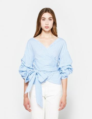 Farrow Jayne Wrap Top In Blue Gingham