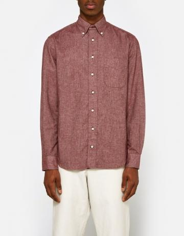 Gitman Brothers Vintage Flannel Chambray Shirt In Burgundy