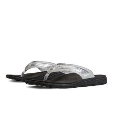 New Balance Revitalign Flourish Thong Women's Flip Flops Shoes - Black/silver (w6046bs)
