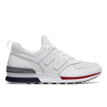 New Balance 574 Sport Men's Sport Style Shoes - White/navy/red (ms574awl)
