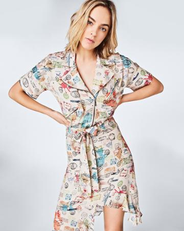 Nicole Miller Airmail Stamps Moto Dress