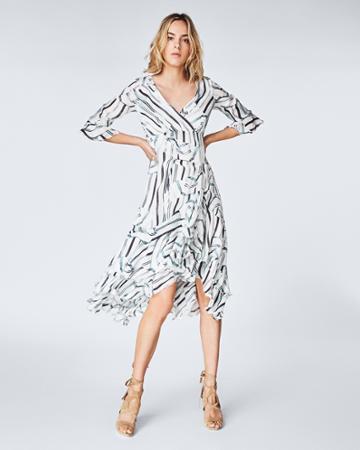 Nicole Miller Ruffle Slit Dress
