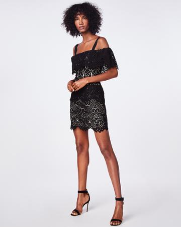 Nicole Miller Swirl Lace Mini Dress