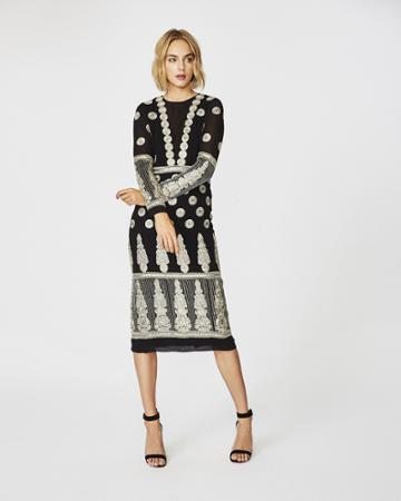 Nicole Miller Enchanted Embroidered Midi Dress
