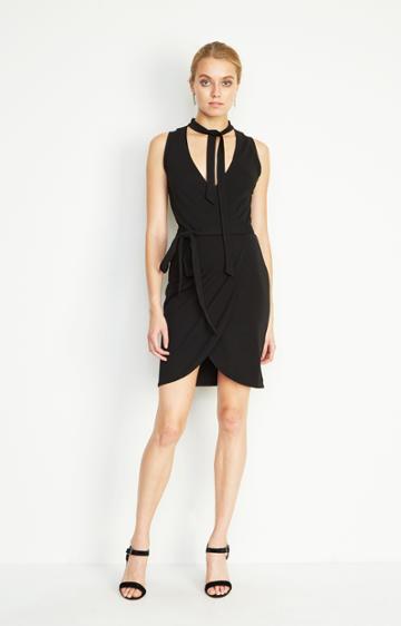 Nicole Miller Neck Tie Jersey Dress